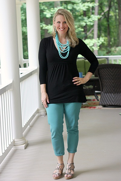 Find a fun pair of colored pants. They give a great pop of color