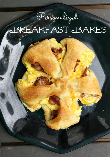 We just love these personalized breakfast bakes. Pick your own toppings. Made these in the toaster oven.