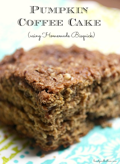 Delicious Pumpkin Coffee Cake that whips up in minutes using homemade bisquick