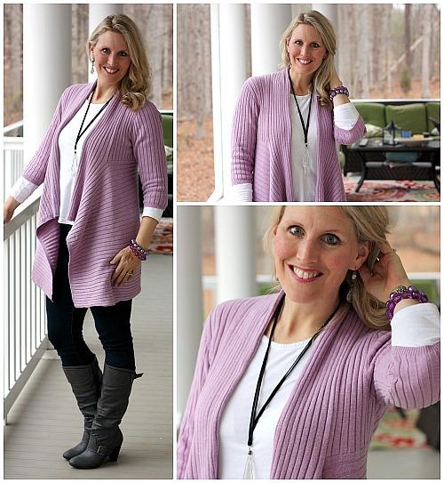 Purple cardigan from yard sale $2
