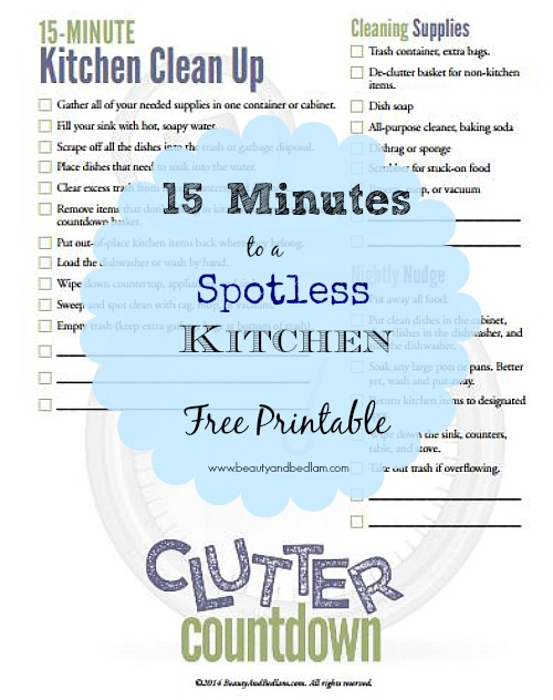 15 Minute Kitchen Clean Up Checklist. Free Printable! Great tips!