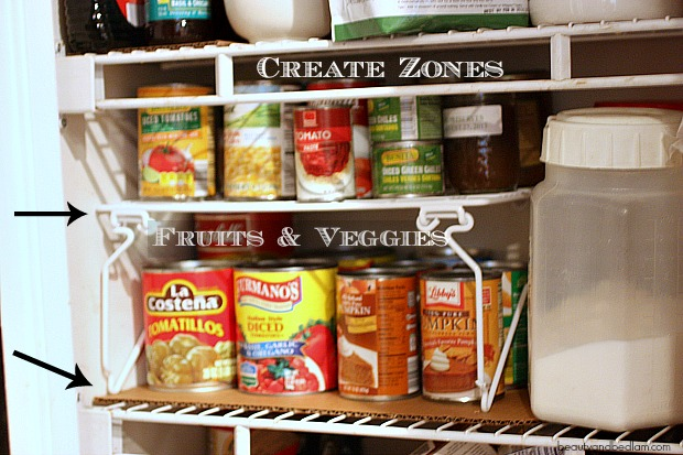 Create Zones in your pantry for easy access to items Clutter Countdown tip