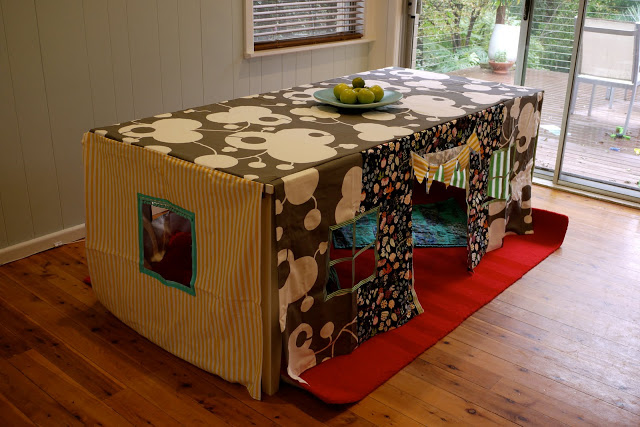 Fun fort ideas - tent over kitchen table