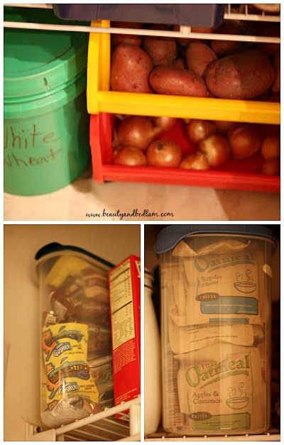 Store like items together in the pantry. Create zones