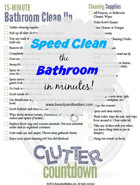 What a great printable! Speed Clean the Bathroom in Minutes