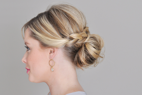 Messy bun with braided wrap