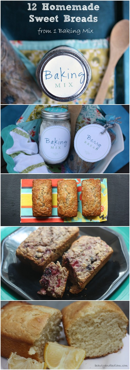 12 Homemade Sweet Breads from 1 Baking Mix - amazing gift with free printables too