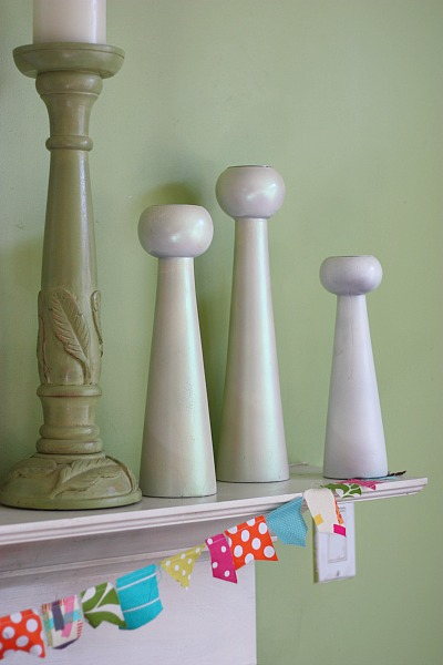 Spray paint wood candle holders
