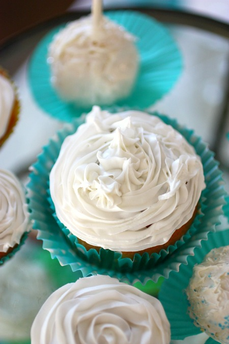 Simple frosting and cute cupcake liners make for festive party food additions