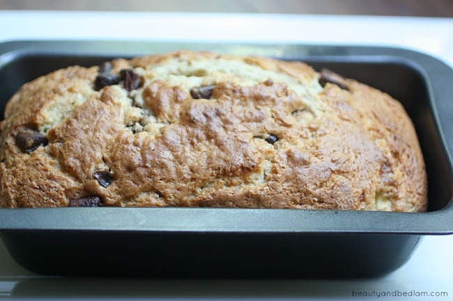 Starting with a box cake mix, this easy banana bread whips up in minutes and is so delicious!