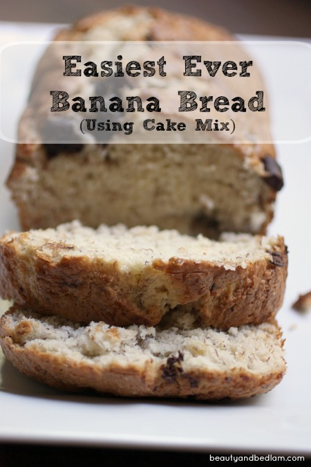 We just love this easy banana bread since it starts with a short cut (cake mix)