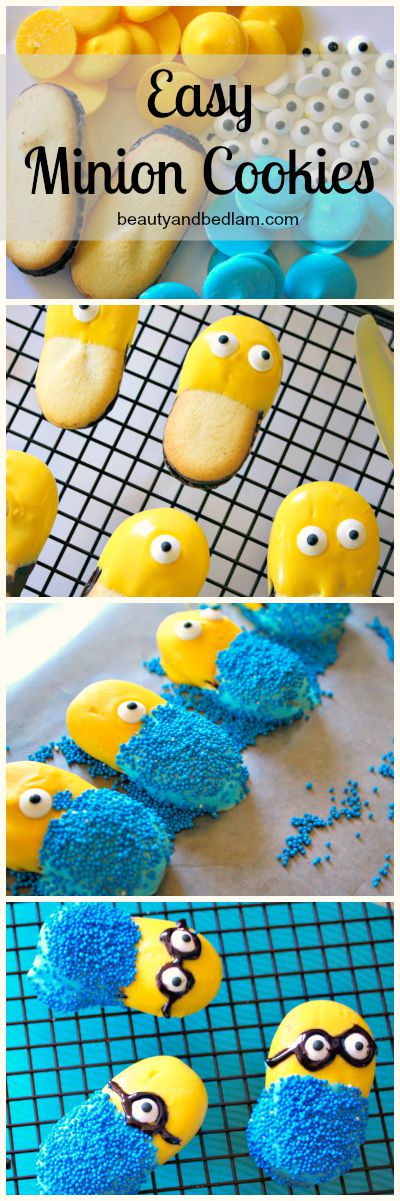Adorable and easy Minion Cookies using Milanos. SO CUTE!!!