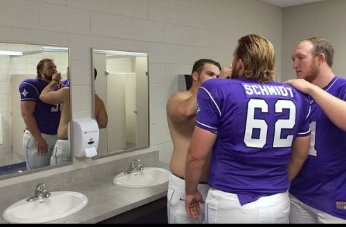 Getting a great shave before team pictures