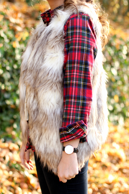 Fur vest and plaid