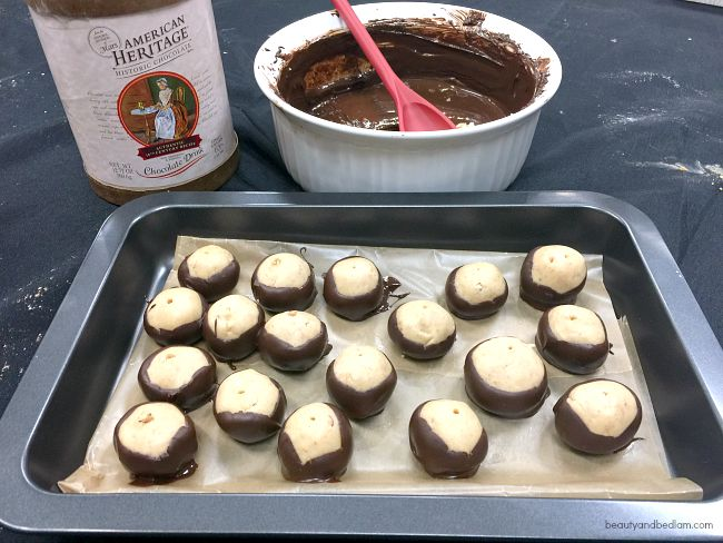 Homemade Buckeyes - peanut butter and chocolate are my faves