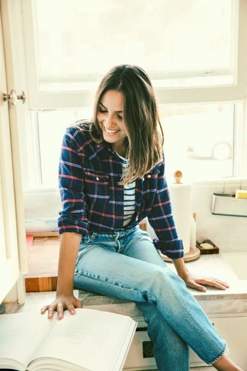 casual plaid and stripes layered