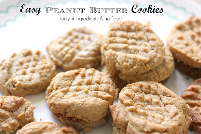 These amazing Peanut Butter Cookies have only 4 ingredients and no flour. Perfect for low carb - so easy!