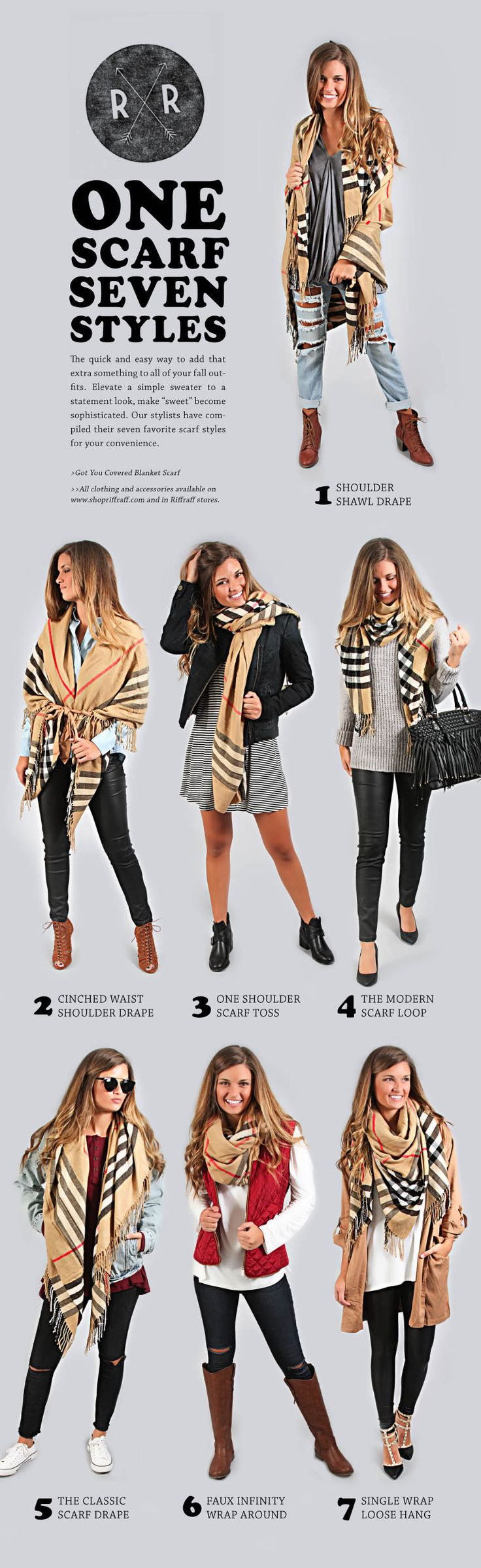 Easy ways to style a large scarf