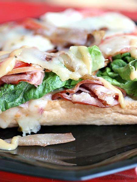 Turkey, ham, carmelized onion sandwich
