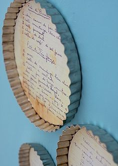 recipes framed in pie tin