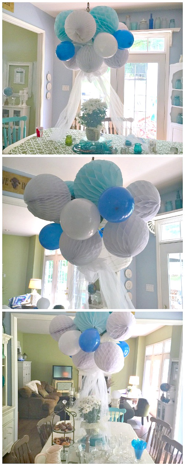 With only a few dollars and 15 minutes of your time, you can create a festive focal point. Easy party decor with tissue and balloons.