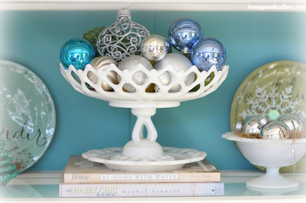 Milk-Glass-with-silver-blue-ornaments