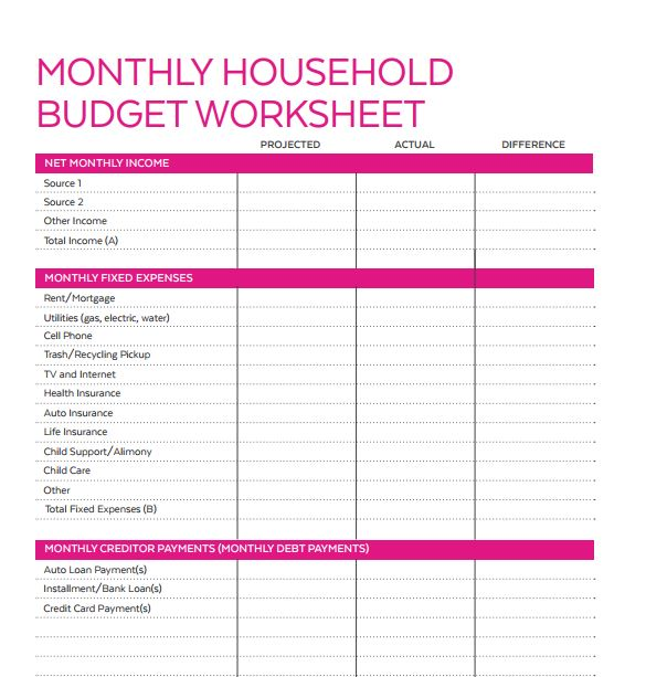 monthly budget worksheet