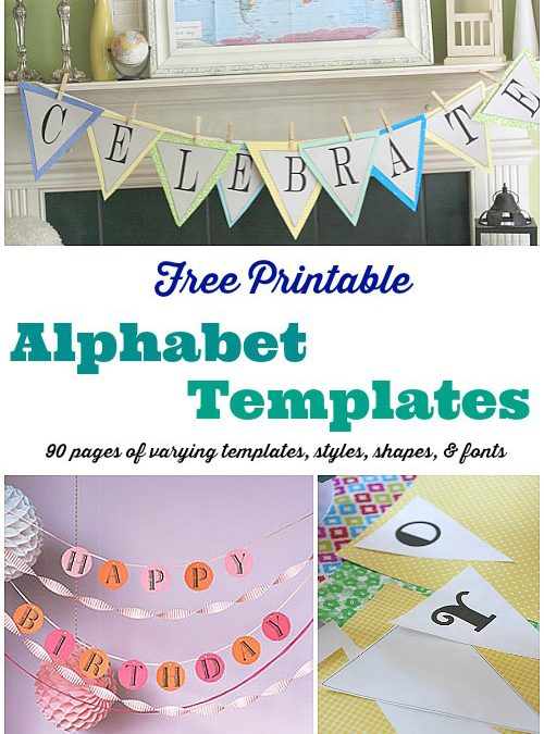 Free Printable Banner Templates:  Alphabet with Different Styles, Shapes & Fonts
