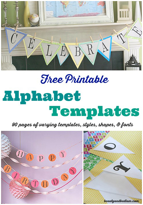 picture about Free Printable Fonts identify Absolutely free Printable Banner Templates: Alphabet with Alternate